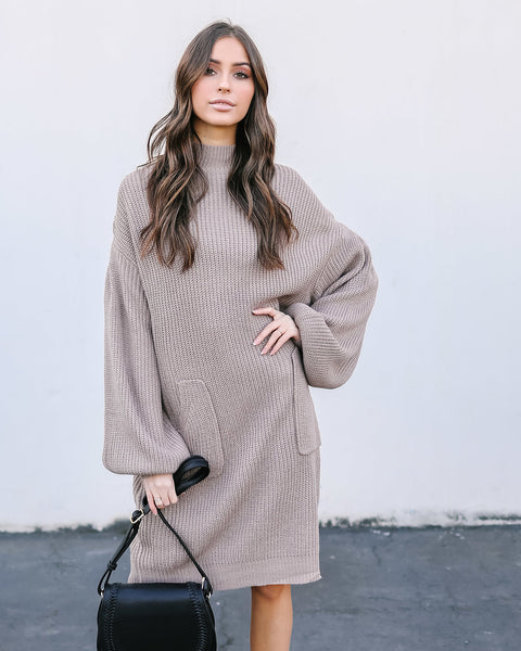 Baby, It's Cold Outside Pocketed Sweater Dress - Taupe
