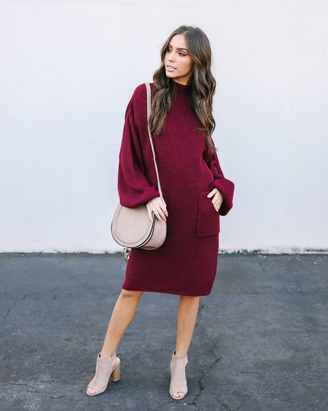 Baby, It's Cold Outside Pocketed Sweater Dress - Burgundy