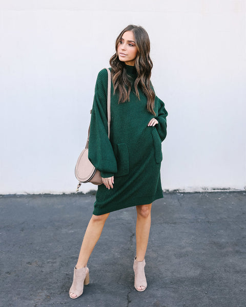 Baby, It's Cold Outside Pocketed Sweater Dress - Hunter Green