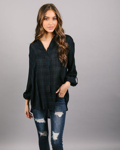 Wyatt Plaid Button Down Top - Teal