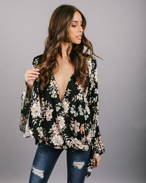 Sweet Bouquet Drape Blouse