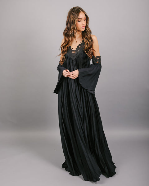 Elegant Encounter Pleated Maxi Dress