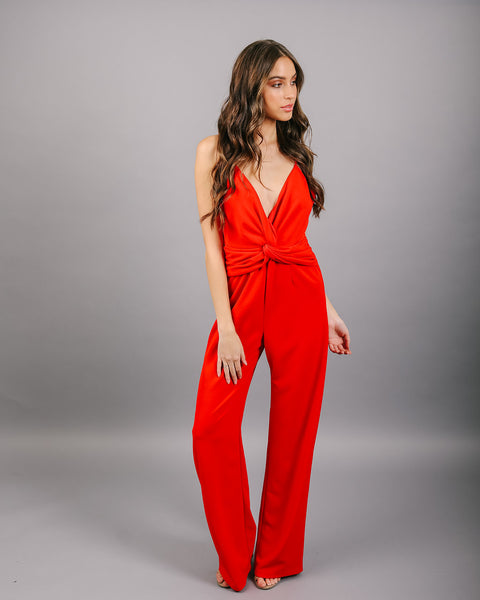 Get In The Groove Jumpsuit - Red