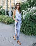 Tesla Tie Dye Pocketed Halter Jumpsuit