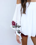 Marseille Bell Sleeve Embroidered Top
