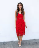 Mystic Muse Lace Dress - Red