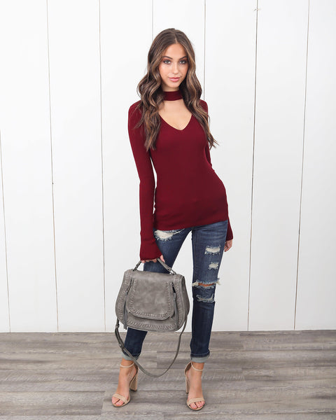 Chic Goals Keyhole Sweater - Wine
