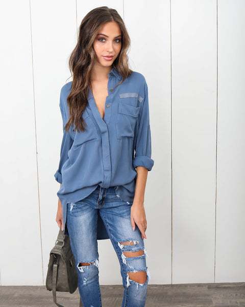 High Demand Utility Blouse - Dusty Blue