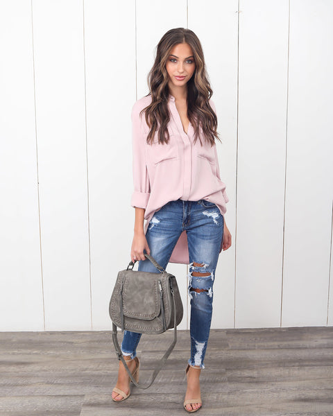 High Demand Utility Blouse - Dusty Pink