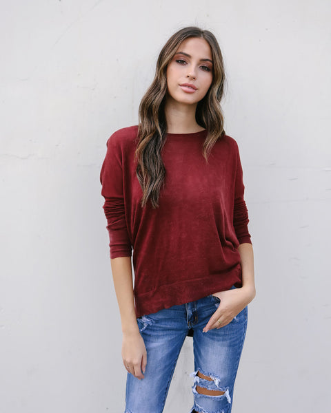 Light As A Feather Zip Sweater - Wine