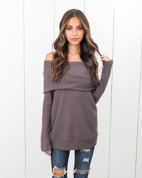 Look Out Off The Shoulder Top - Mocha - FINAL SALE