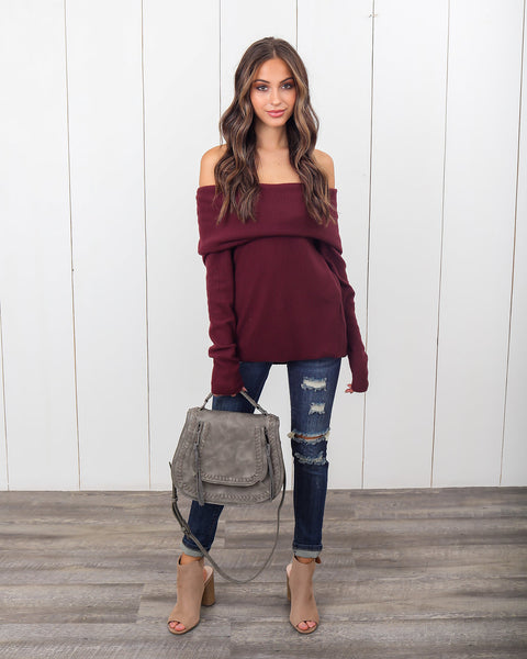 Look Out Off The Shoulder Top - Burgundy