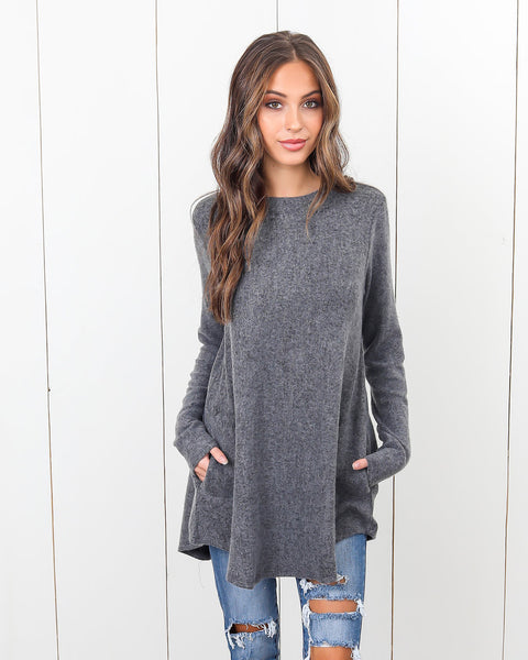 Krystan Pocketed Top - Charcoal
