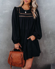 Canyon Pocketed Tiered Babydoll Dress - Black - FINAL SALE view 5