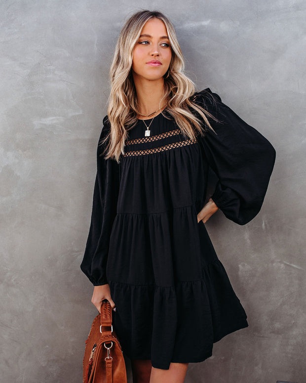 Canyon Pocketed Tiered Babydoll Dress - Black - FINAL SALE view 7