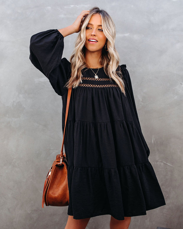 Canyon Pocketed Tiered Babydoll Dress - Black - FINAL SALE view 3