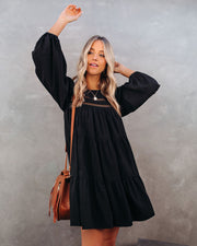 Canyon Pocketed Tiered Babydoll Dress - Black - FINAL SALE view 10
