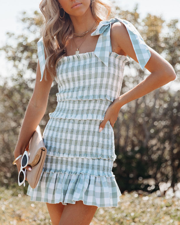 Carmella Smocked Gingham Tie Strap Dress view 3