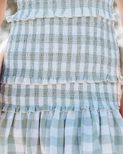 Carmella Smocked Gingham Tie Strap Dress view 4