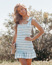 Carmella Smocked Gingham Tie Strap Dress view 7