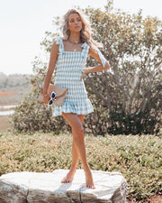 Carmella Smocked Gingham Tie Strap Dress view 6