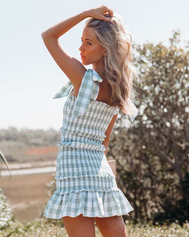Carmella Smocked Gingham Tie Strap Dress view 2