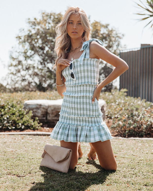Carmella Smocked Gingham Tie Strap Dress view 1