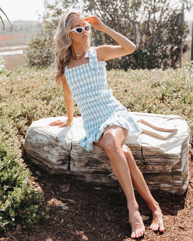 Carmella Smocked Gingham Tie Strap Dress view 9