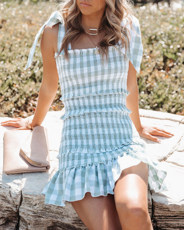 Carmella Smocked Gingham Tie Strap Dress view 5