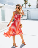 Carnival Striped Midi Dress - Tomato/Tan - FINAL SALE