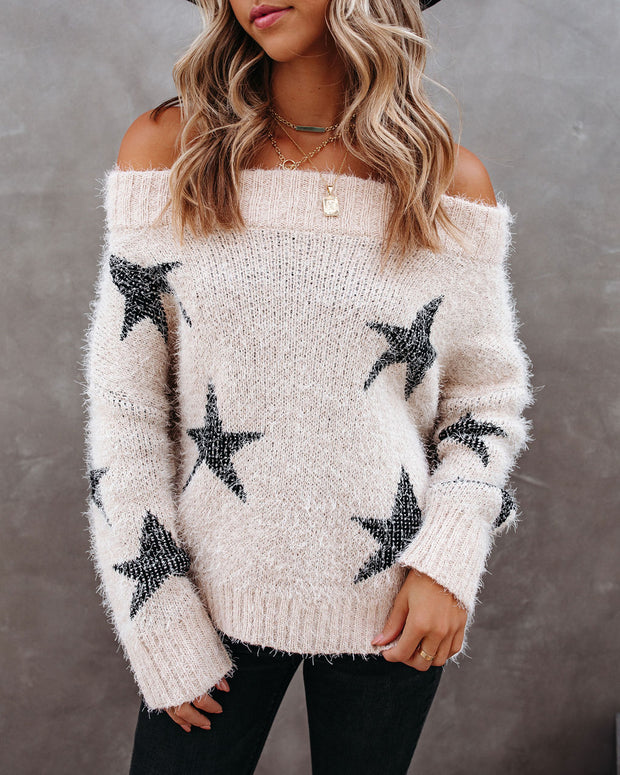 Celeste Off The Shoulder Knit Star Sweater view 7