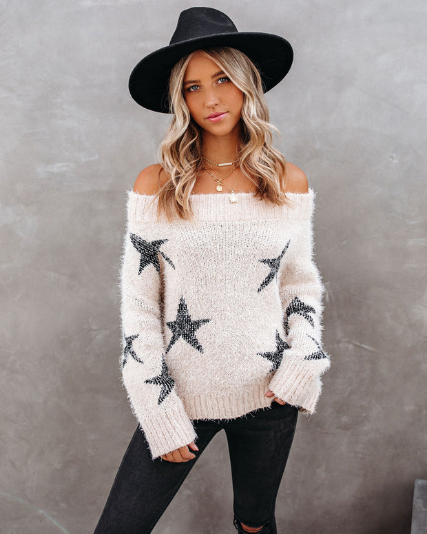 Celeste Off The Shoulder Knit Star Sweater view 3