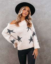 Celeste Off The Shoulder Knit Star Sweater view 5