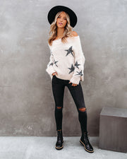 Celeste Off The Shoulder Knit Star Sweater view 1