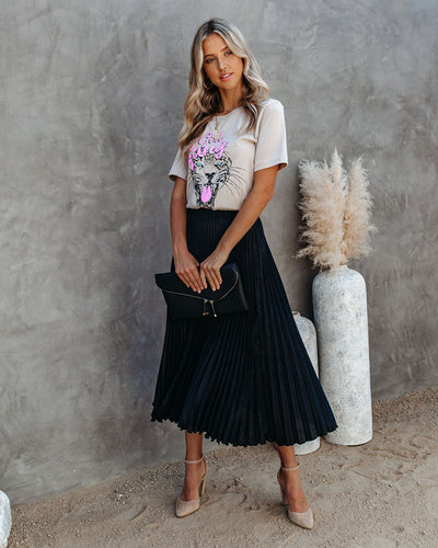 Champagne Gardens Pleated Midi Skirt - Black