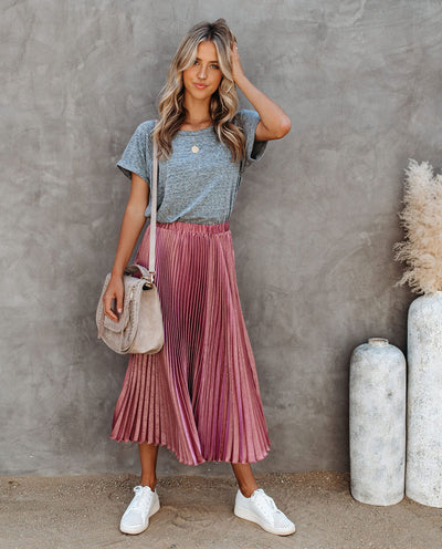 Champagne Gardens Pleated Midi Skirt - Mauve