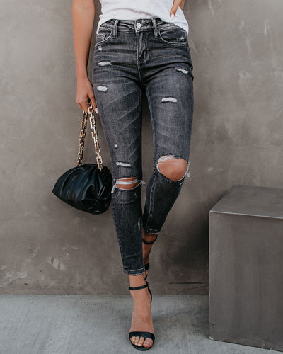 Chanelle Mid Rise Distressed Skinny