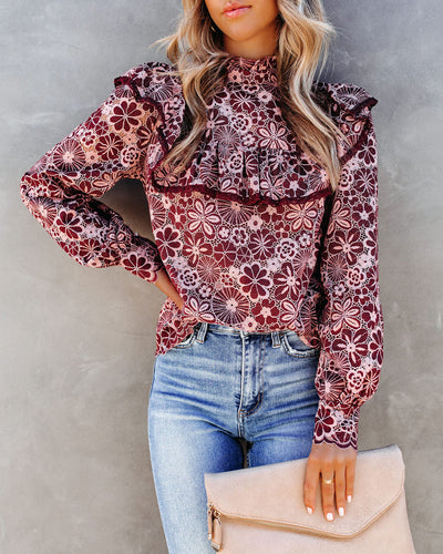 Change Is Beautiful Ruffle Lace Top - Burgundy/Blush