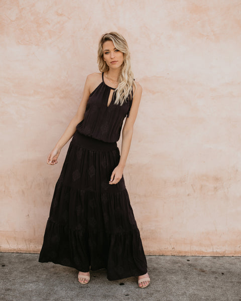 Kelby Smocked Maxi Dress - Charcoal