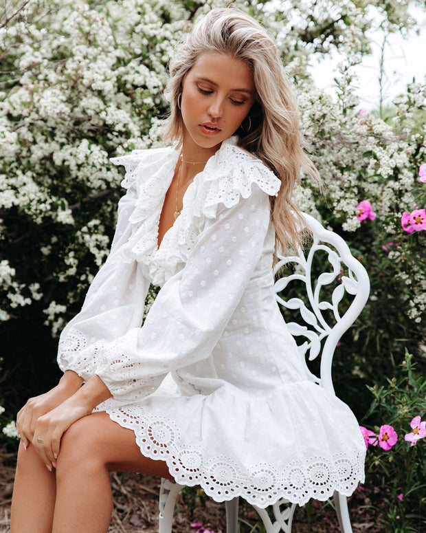 Cheers Cotton Embroidered Eyelet Mini Dress view 9