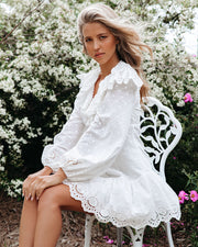 Cheers Cotton Embroidered Eyelet Mini Dress view 5