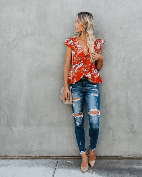 Cherry Picking Floral Top