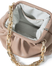 Chic Crossbody Chain Pouch Bag - Natural