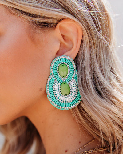 City Lights Beaded Statement Earrings - Mint