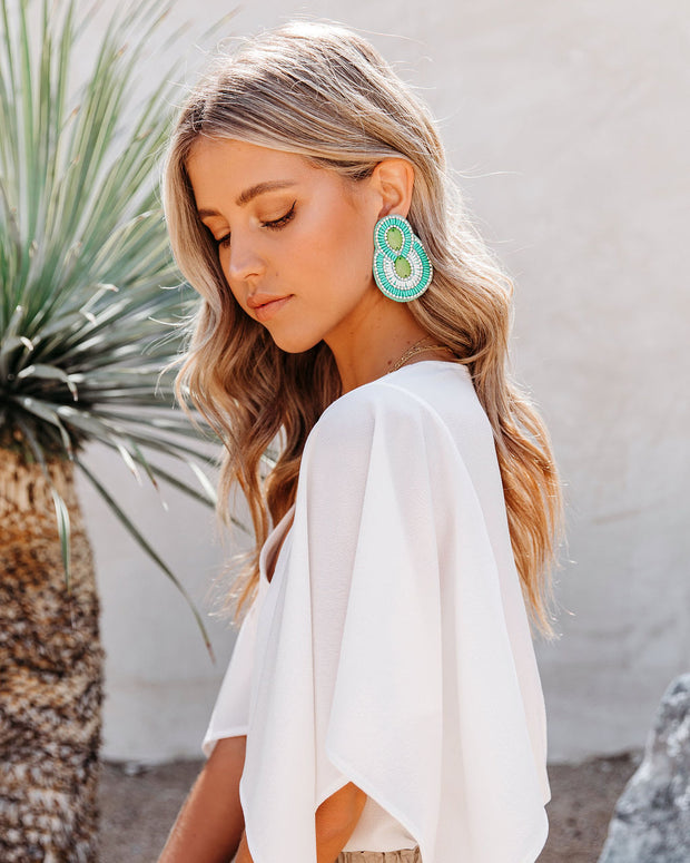 City Lights Beaded Statement Earrings - Mint view 4