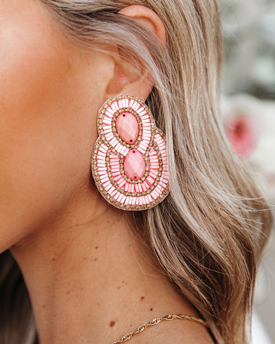 City Lights Beaded Statement Earrings - Pink