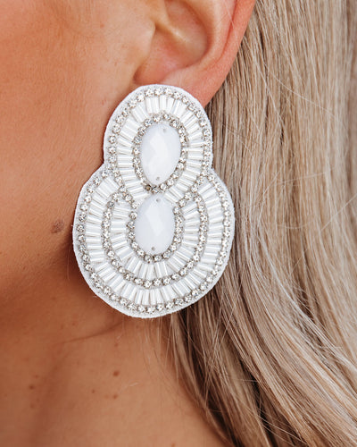 City Lights Beaded Statement Earrings - White