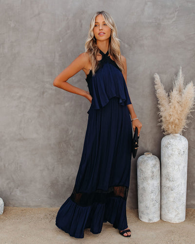 Claire Halter Lace Maxi Dress