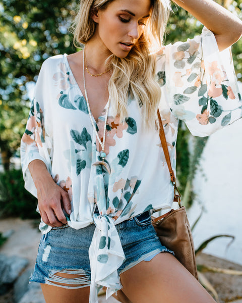 Close To You Floral Tie Top