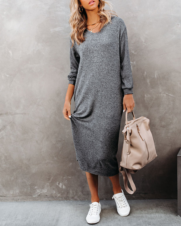 Coley Pocketed Hooded Knit Midi Dress - Charcoal view 3